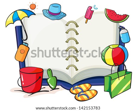 Illustration of an empty book with the things used during summer on a white background