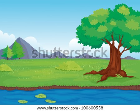 Illustration of an empty rural landscape - EPS VECTOR format also available in my portfolio. - stock photo