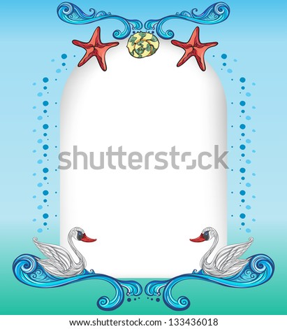 Illustration of an empty surface with starfishes and swans - stock photo