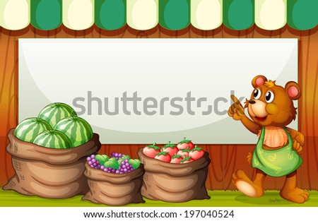 Illustration of an empty template at the market with a bear and sack of fruits - stock photo