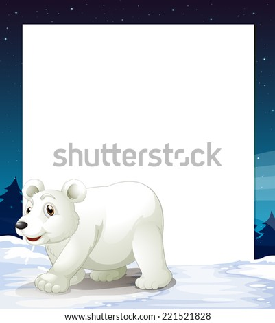Illustration of an empty template with a polar bear - stock photo