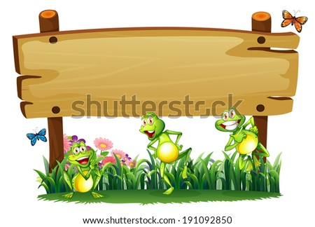 Illustration of an empty wooden board at the garden with playful frogs on a white background