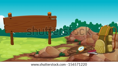 Illustration of an empty wooden signboard near the rocks with a bag