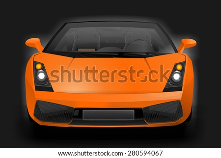 Illustration of an exotic sports car. European super sport vehicle. Graphic design.