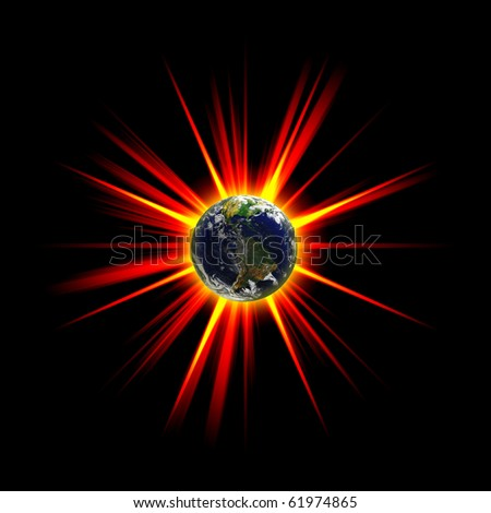 Illustration of an exploding planet earth or asteroid collision against the globe. Earth image courtesy of NASA. - stock photo