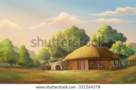 Illustration of an  home in the forest edge. - stock photo