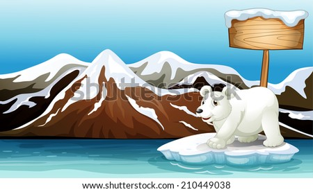 Illustration of an iceberg in the ocean with an empty signboard and a Polar bear - stock photo