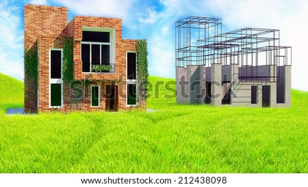Illustration of an idea and implementation  of urban design.  Outline sketch and  rendering.   - stock photo