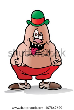 illustration of an idiotic fat person half  naked on isolated white background - stock photo