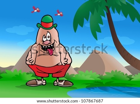 illustration of an idiotic fat person half  naked on nature background