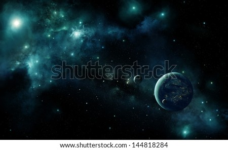 Illustration of an inhabited alien planet in space with a blue nebula and stars. Lights of cities are visible under the cloud layer of the planet - stock photo