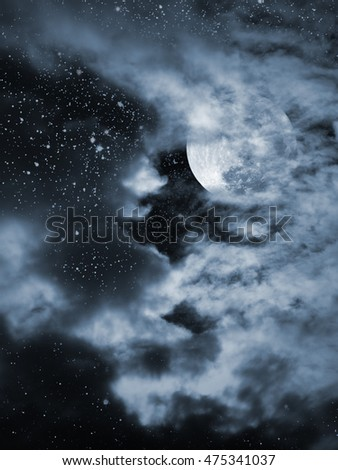 Illustration of an interesting full moon in a cloudy night with stars. Used pat of a NASA photo for the stars.