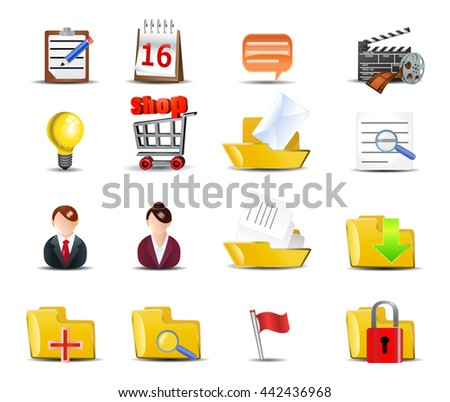 illustration of an internet icons set on isolated white background - stock photo