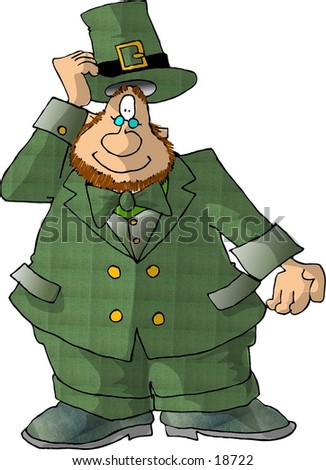 Illustration of an Irish Leprechaun tipping his hat.