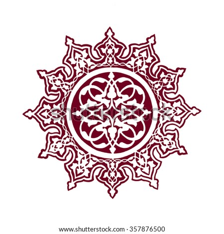 Illustration of an Islamic ceiling decoration from the blue mosque in Istanbul, Turkey. - stock photo