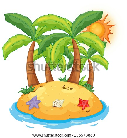 Illustration of an island with coconut trees on a white background  - stock photo
