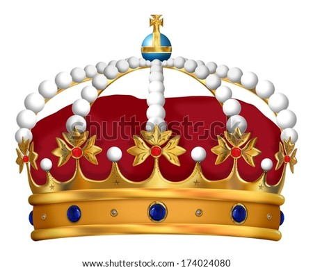 Illustration of an isolated and detailed Royal Crown - stock photo