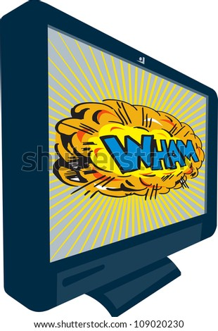 Illustration of an LCD Plasma television TV set on isolated white background with cartoon style explosion and text word wham. - stock photo