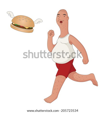 """Illustration of an obese middle aged man chasing a flying hamburger. """"Fast food"""" concept. Raster. - stock photo"""