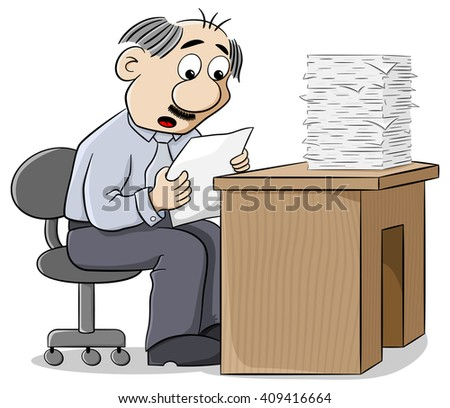 illustration of an office worker reads a letter dismayed at the news