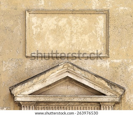 Illustration of an old building entrance in Havana - stock photo