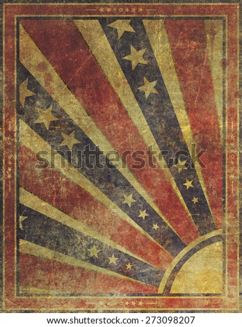 Illustration of an old, highly damaged, faded and worn grunge paper poster background.