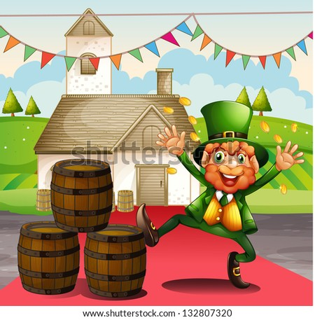 Illustration of an old man in a green attire beside the barrels - stock photo
