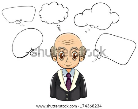 Illustration of an old man with many empty callouts on a white background