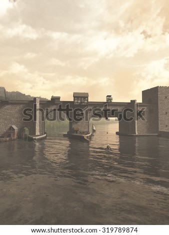 Illustration of an old Medieval bridge with gatehouse and half-timbered buildings, spanning a quiet river, 3d digitally rendered illustration - stock photo