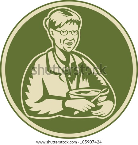 Illustration of an old senior mature woman granny grandmother cooking with mixing bowl facing front done in retro woodcut style set inside circle. - stock photo