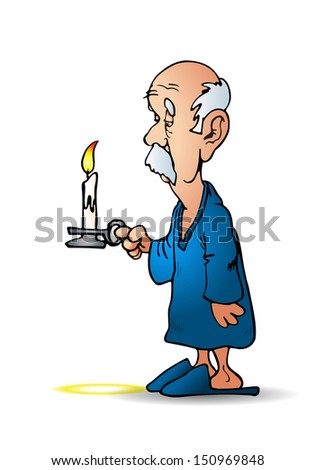 illustration of an older man holding a candle on isolated white background - stock photo