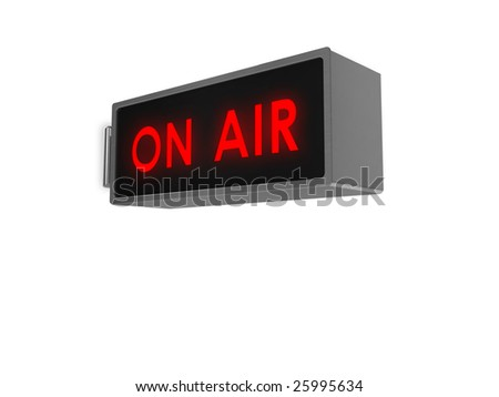 Illustration of an 'On Air' sign, with illuminated red text.