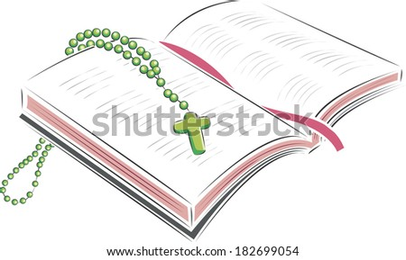 Illustration of an open Bible and rosary - stock photo