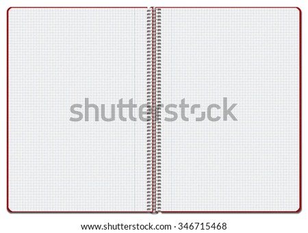 Illustration of an opened red checkered notebook. Suitable for use as background