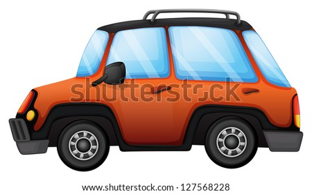 Illustration of an orange car on a white background