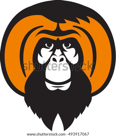 Illustration of an orangutan, orang-utan, orangutang or orang-utang an Asian species of extant great apes with beard facial hair and tussled hair front set on isolated white background retro style.