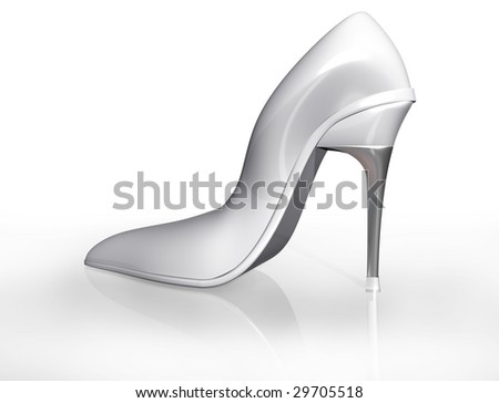 Illustration of an original white stiletto shoe design fit for marriage - stock photo