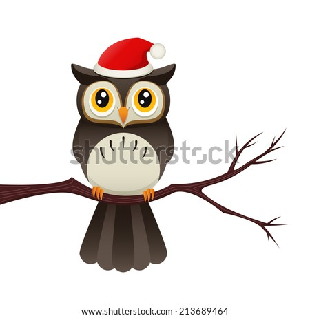 Illustration of an owl on a branch wearing a santa hat. Raster. - stock photo