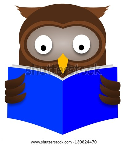 Illustration of an Owl reading a book - stock photo