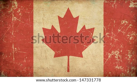 Illustration of an rusty, grunge, aged Canadian flag.