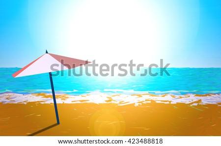 Illustration of an umbrella on the beach - stock photo