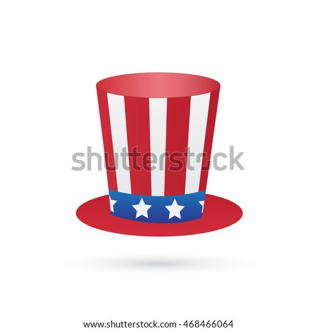 Illustration of an uncle sam patriotic hat isolated on a white background.