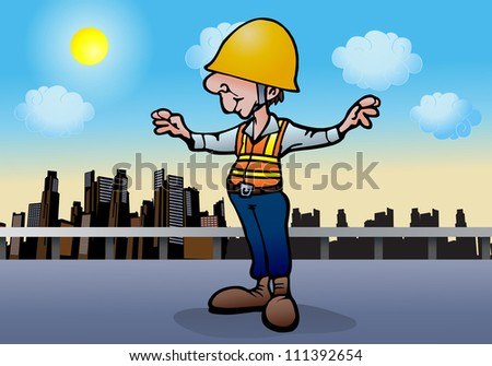 illustration of an under construction worker  on city background - stock photo