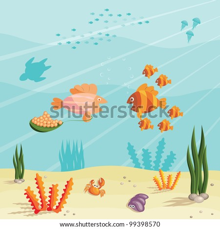 Illustration of an underwater ocean scene with small cartoon fishes (raster version) - stock photo