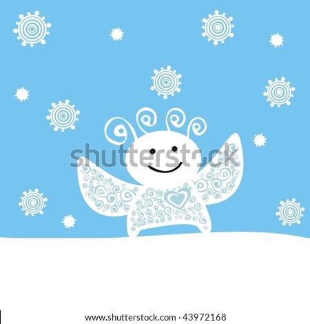 illustration of angel under snowfall - stock photo