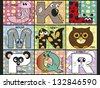 illustration of animal alphabet - stock 2 - stock vector