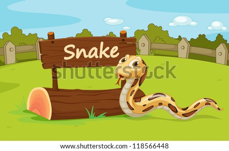 Illustration of animal enclosure at the zoo - stock photo