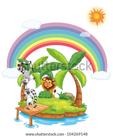 Illustration of animals on an island - EPS VECTOR format also available in my portfolio.