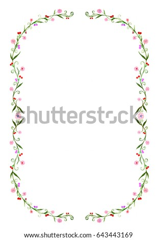 antique frame drawing. Illustration Of Antique Frame, Hand Drawing By Sketch Marker Color. The  Floral Garden Frame