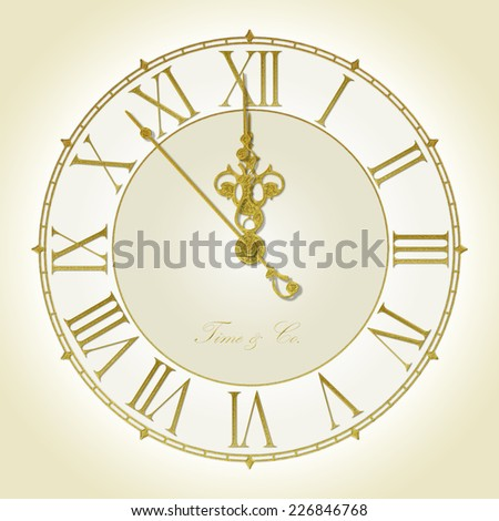 Illustration of antique wall clock 7 seconds to midnight or noon - stock photo